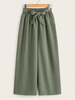 Casual Plain Wide Leg Loose Elastic Waist Mid Waist Army Green Cropped Length Wide Leg Belted Pants with Belt