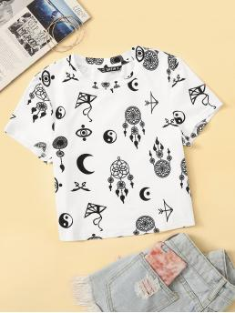 Casual Tribal Regular Fit Round Neck Cap Sleeve Pullovers White Crop Length Tribal Print Cap Sleeve Tee