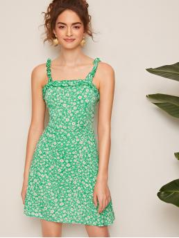 Boho A Line Ditsy Floral Regular Fit Straps Sleeveless Natural Green Short Length Frilled Strap Daisy Print Dress