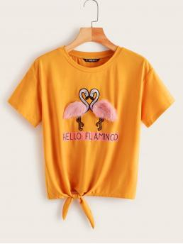 Casual Slogan Regular Fit Round Neck Short Sleeve Pullovers Yellow and Bright Regular Length Slogan Print Patched Knotted Tee
