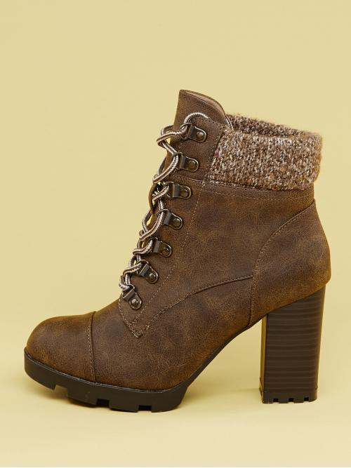 Glamorous Lace-up Boots Almond Toe