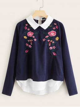 Preppy Floral Top Regular Fit Peter Pan Collar Long Sleeve Regular Sleeve Pullovers Navy Regular Length Floral Embroidered 2 In 1 Blouse