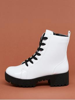 Comfort Combat Boots Almond Toe Plain No zipper White Mid Heel Chunky Lace Up Heavy Sole Block Heel Military Boots