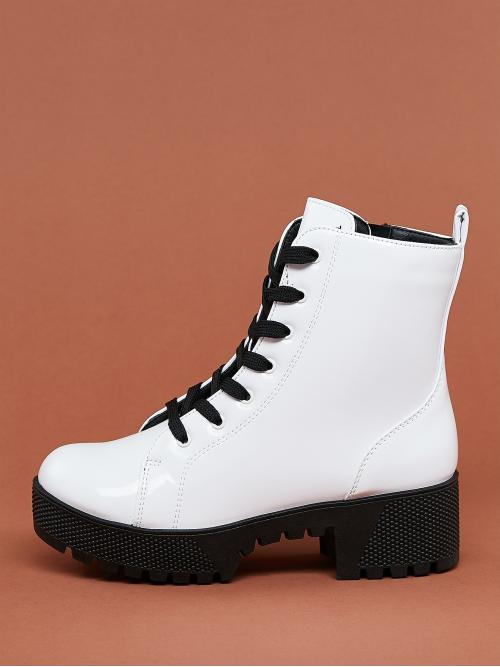 Business Casual Combat Boots Round Toe Plain No zipper White Mid Heel Chunky Lace Up Heavy Sole Block Heel Military Boots