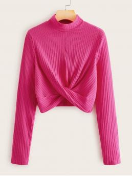 Elegant Plain Slim Fit Stand Collar Long Sleeve Regular Sleeve Pullovers Pink and Bright Crop Length Neon Pink Twist Front Rib-knit Tee