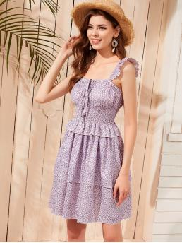 Boho Cami Ditsy Floral Layered/Tiered Regular Fit Straps Sleeveless High Waist Purple Short Length Ditsy Floral Ruffle Trim Tie Front Shirred Slip Dress