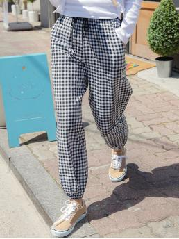 White High Waist Pocket Gingham and Graphic Pants Trending now