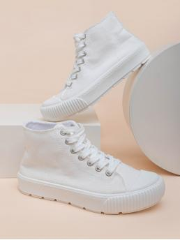 White Canvas High-top Canvas Front High Top Shoes Trending now