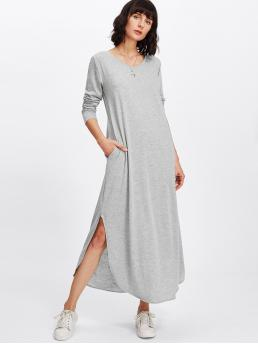 Casual Tee Plain Slit Loose Round Neck Long Sleeve Natural Grey Maxi Length Side Slit Marled Knit Maxi Tee Dress