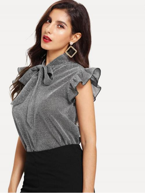 Cap Sleeve Top Ruffle Plain Armhole Glitter Top Ladies