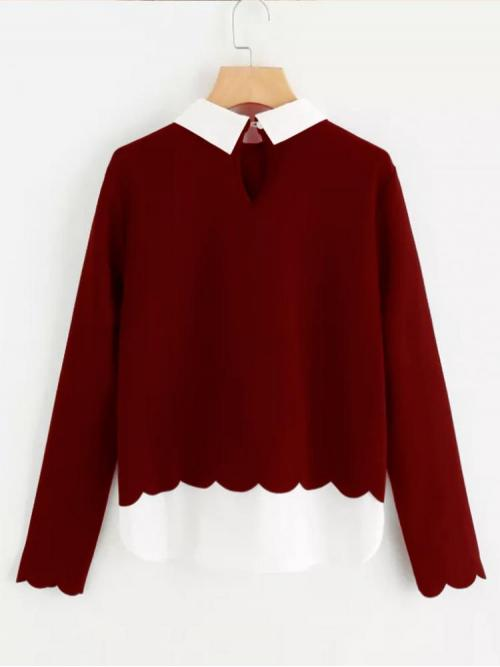 Long Sleeve Top Contrast Collar Polyester and Hem Scalloped Blouse Sale