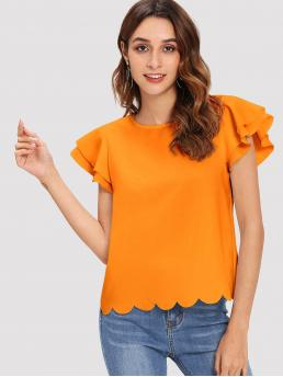Women's Cap Sleeve Top Tiered Layer Polyester Layered Ruffle Sleeve Scallop Hem Top