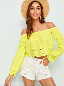 Boho Top Plain Regular Fit Off the Shoulder Long Sleeve Pullovers Yellow and Bright Crop Length Neon Lime Eyelet Embroidered Off Shoulder Top