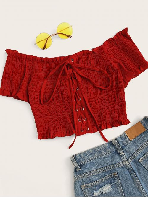 Casual Plain Slim Fit Off the Shoulder Short Sleeve Placket Red Crop Length Grommet Lace-Up Shirred Frill Crop Top
