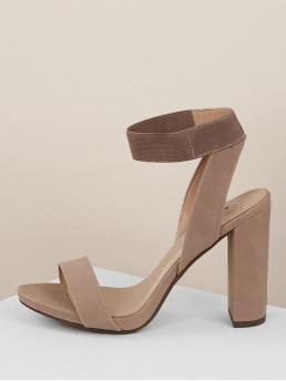 Comfort Ankle Strap Nude High Heel Chunky Open Toe Elastic Ankle Strap Chunk Heel Sandals