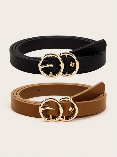 Casual Belt Sets Multicolor Double O-ring Buckle Belt 2pcs