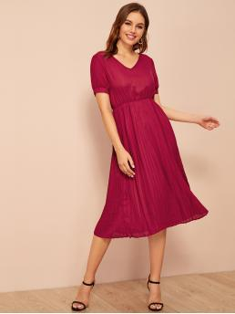 Elegant A Line Plain Pleated Regular Fit V neck Short Sleeve High Waist Burgundy Long Length High Waist Solid Pleated Dress