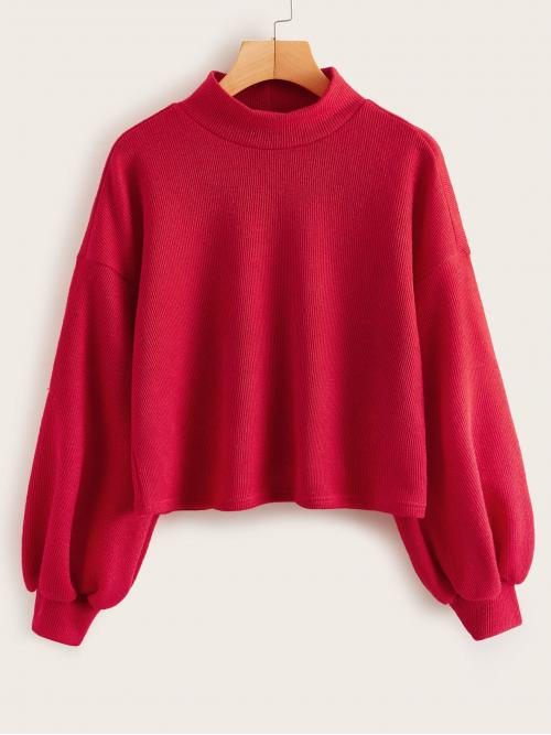 Casual Plain Regular Fit Stand Collar Long Sleeve Bishop Sleeve Pullovers Red and Bright Regular Length Drop Shoulder Lantern Sleeve Rib-knit Top