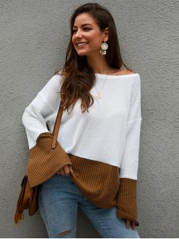 Casual Colorblock Oversized Boat Neck Long Sleeve Pullovers White Regular Length Two Tone Drop Shoulder Flounce Sleeve Tee