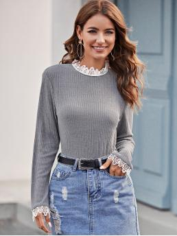 Elegant Plain Regular Fit Stand Collar Long Sleeve Regular Sleeve Pullovers Grey Regular Length Lace Trim Ribbed Fitted Tee
