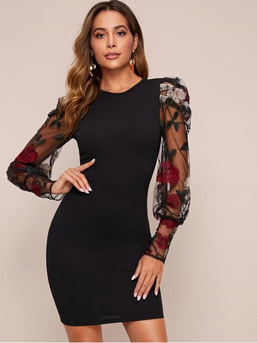 Glamorous Bodycon Floral Pencil Slim Fit Round Neck Long Sleeve Natural Black Short Length Embroidery Mesh Bishop Sleeve Bodycon Dress