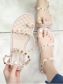 Thong Sandals Toe Post Strappy Apricot Toe Loop Studded Decor Sandals