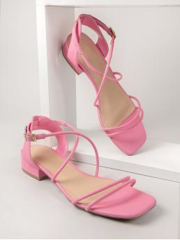 Fashion Pink Strappy Sandals Flat Open Toe Faux Leather Open-toe Ankle Strap Heels