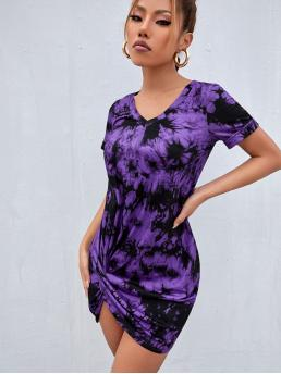 Fashion Multicolor Tie Dye Twist V Neck Detail Dress