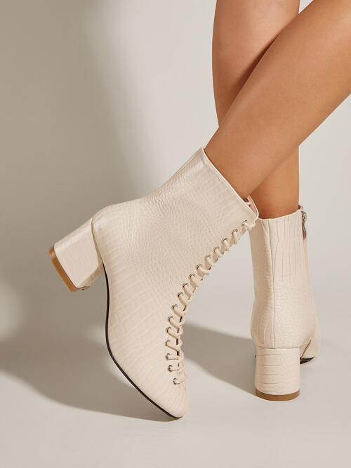 Affordable Beige Pu Leather Rubber Pu Leather Croc Embossed Lace-up Front Chunky Heeled Boots