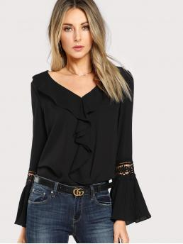 Elegant Plain Top Regular Fit V neck Long Sleeve Black Guipure Lace Panel Flounce Sleeve Ruffle Top