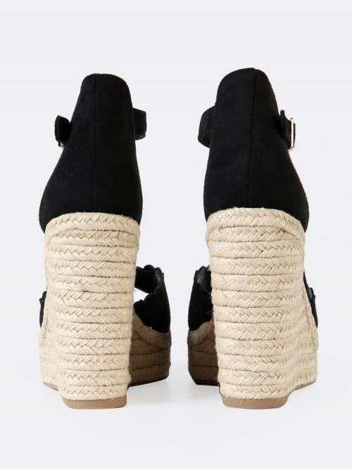 Corduroy Black Mules Scallop Scalloped Band Espadrille Platform Wedge Sandal Fashion