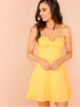 Glamorous Cami Plain Flared Sweetheart Sleeveless Yellow Short Length Bustier Bodice Dress with Lining