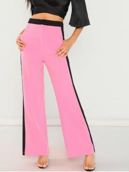 Sale Pink Natural Waist Button Pullovers Neon Zip Front Striped Pants
