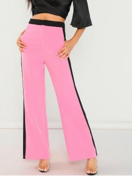 Sporty Skinny Zipper Fly Mid Waist Pink Long Length Neon Pink Zip Front Striped Pants