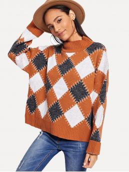 Beautiful Long Sleeve Pullovers Pleated Corduroy Argyle Pattern Stand Neck Sweater