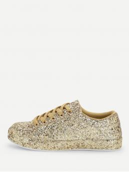 Skate Shoes Round Toe Lace Up Gold Lace Up Glitter Trainers