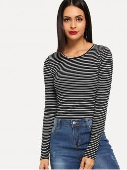 Casual Striped Slim Fit Round Neck Long Sleeve Pullovers Black and White Regular Length Rib Knit Striped T-shirt
