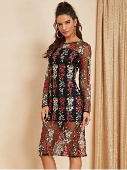 Sexy Fitted Floral Regular Fit Round Neck Long Sleeve Natural Multicolor Midi Length Floral Embroidered Mesh Overlay Dress with Lining
