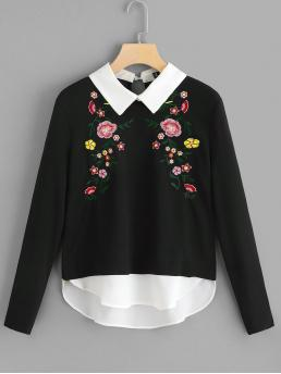 Casual Floral Asymmetrical Regular Fit Long Sleeve Black Regular Length Floral Embroidered 2 In 1 Blouse