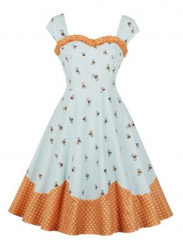 Vintage A Line Animal Ball Gown Sweetheart Sleeveless Natural Multicolor Midi Length 50s Bee Print Frill Polka Dot Flare Dress