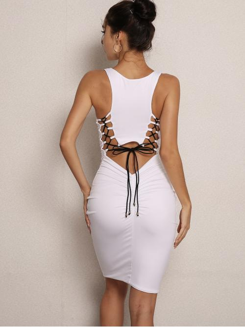 Sexy Bodycon Plain Slim Fit Round Neck Sleeveless Natural White Short Length Joyfunear Lace-up Cut Out Back Ruched Tank Dress