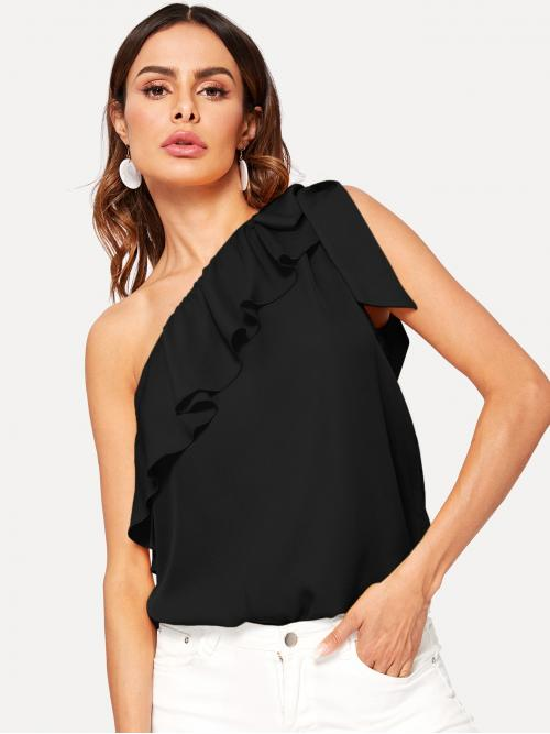 Sexy Plain Regular Fit One Shoulder Sleeveless Pullovers Black Regular Length One Shoulder Ruffle Trim Knotted Top