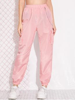 Sporty Plain Cargo Pants Regular Elastic Waist Mid Waist Pink and Pastel Long Length Chain Detail Flap Pocket Cargo Pants