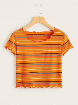 Casual Striped Regular Fit Round Neck Short Sleeve Pullovers Multicolor Crop Length Striped Lettuce Frill Crop Tee