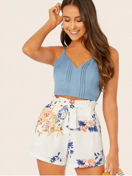 Casual Cami Plain Slim Fit Spaghetti Strap Blue Crop Length Pleated Front Shirred Crop Cami Top
