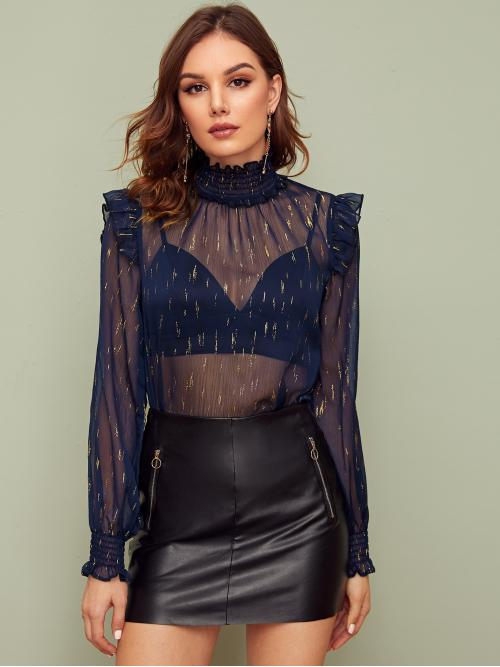 Sexy Top Regular Fit High Neck Long Sleeve Flounce Sleeve Pullovers Navy Regular Length Shirred Neck and Cuff Gold Print Chiffon Top Without Bra