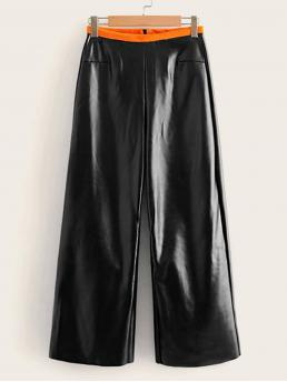 Casual Wide Leg Regular Zipper Fly Mid Waist Black Cropped Length Wide Leg Faux Leather Pants