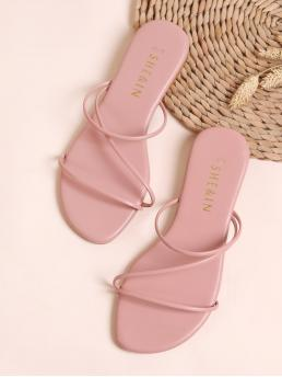 Comfort Plain Pink Open Toe Thin Strap Sliders