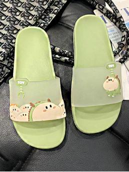 Open Toe Cartoon Green Cartoon Graphic Clear Sliders