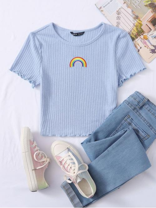 Casual Cartoon Slim Fit Round Neck Cap Sleeve Regular Sleeve Pullovers Pastel and Baby Blue Crop Length Lettuce Trim Embroidery Rainbow Rib-knit Tee